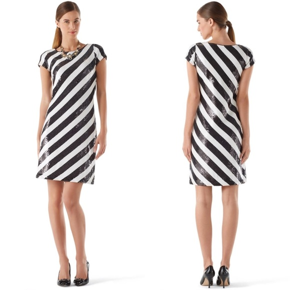 White House Black Market Dresses Whbm Diagonal Stripe Sequin Dress